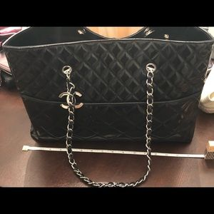 Black patent leather CHANEL tote
